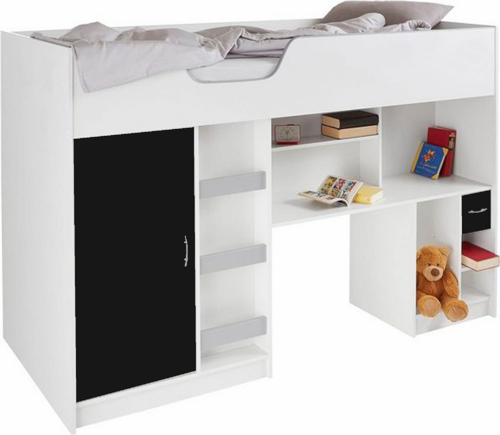 Lifestyle Childrens High sleeper, cabin bed, white/black
